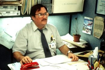 Office Space Stephen Root with red swingline stapler