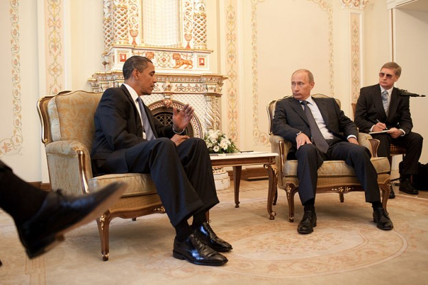 President Barack Obama meets with Prime Minister Vladimir Putin at his dacha outside Moscow, Russia 2009 Pete Souza photo