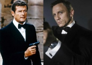 Roger Moore in Live and Let Die, Daniel Craig from his famous movie Casino Royale photo/MGM