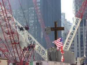 The cross at the National September 11 Memorial and Museum. Image from Wikimedia Commons.