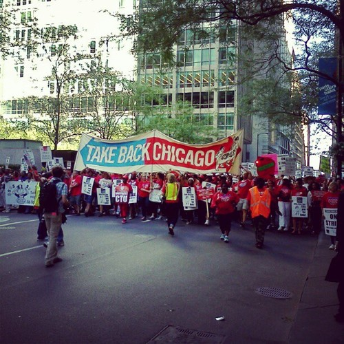 Photograph of striking members of the Chicago Teachers Union, September 11, 2012. photo/MisterJayEm