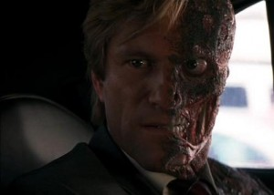 """Aaron Eckhart as Two-Face in """"Dark Knight""""   photo Warner Bros"""