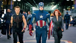 "Hawkeye, Captain America and Black Widow in ""The Avengers"""