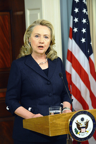 U.S. Secretary of State Hillary Rodham Clinton delivers remarks on the deaths of American personnel in Benghazi, Libya, at the U.S. Department of State in Washington, D.C., September 12, 2012. [State Department photo/ Public Domain]