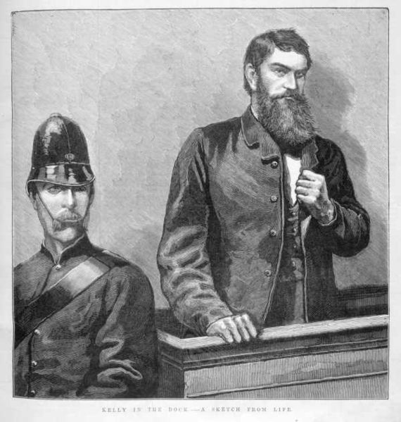 """Ned Kelly in the Dock - A Scene from Life"" Ned Kelly in the dock during his trial. Wood engraving published in The Illustrated Australian News. 28 August 1880 Published by David Syme and Co., Melbourne"