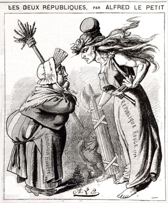 Cartoon depicting the Socialist French Republic against the Conservative French Republic from 'Le Grelot', 1872.  Authored by Alfred Le Petit. Supplied by Bridgeman Art Library via wikimedia commons