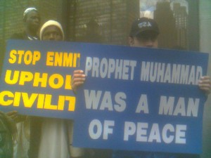 Several hundred Muslims demonstrated across the street  2006  photo Derek Rose via Flickr