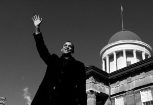 Sen. Barack Obama announces his candidacy for President of the United States at the Old State Capitol in Springfield, Ill. on Feb. 10, 2007.  (photo by Pete Souza)