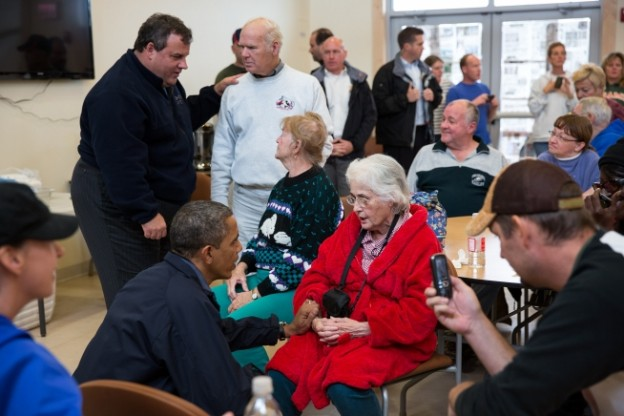 President Barack Obama and New Jersey Gov. Chris Christie talk with local residents at the Brigantine Beach Community Center in Brigantine, N.J., Oct. 31, 2012. (Official White House Photo by Pete Souza)
