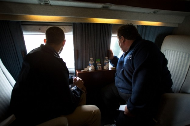President Barack Obama and New Jersey Gov. Chris Christie look at storm damage along the coast of New Jersey on Marine One, Oct. 31, 2012. (Official White House Photo by Pete Souza)