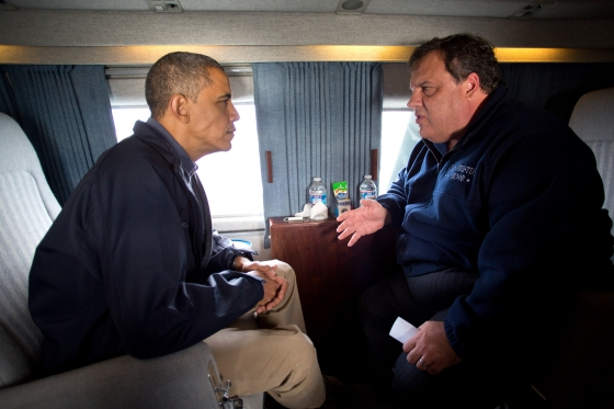 President Barack Obama and New Jersey Gov. Chris Christie talk as they fly over the coast of New Jersey on Marine One, Oct. 31, 2012. (Official White House Photo by Pete Souza)