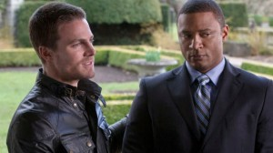 "Stephen Amell as Oliver Queen, David Ramsey as John Diggle in CW's ""Arrow"""