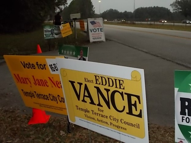 Signs at the Florida voting location, nearly absent of Presidential campaign signs  photo Brandon Jones