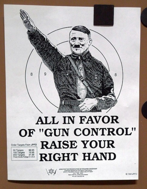 Adolf Hitler poster put out by Jews for the Preservation of Firearms Ownership photo Marshall Astor via Flickr