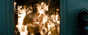 Henry Cavill as Superman on fire Man of Steel photo