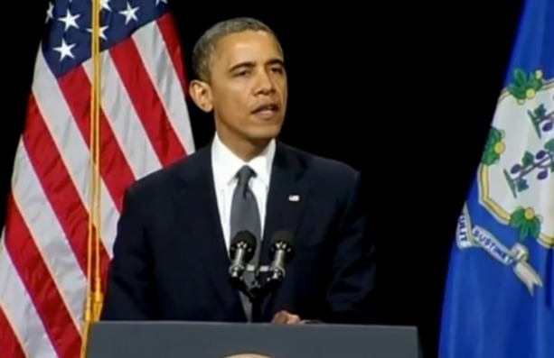 "President Obama delivering a speech at the Newtown High School, telling the community ""You are not alone.""  photo screenshot of Reuters video"