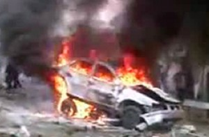Car bombing in Damascus on Saturday, screenshot from YouTube video