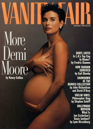 Demi Moore started the trend of celebs showing off their pregnant bellies with this famous Vogue cover photo