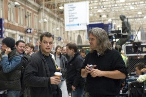"Matt Damon and director Paul Greengrass on the set of ""The Bourne Ultimatum"""