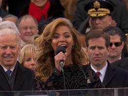 Beyonce star spangled banner lip sync president obama inauguration