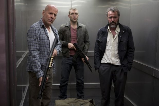 Bruce Willis Jai Courtney elevator photo Good Day Die Hard