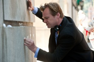 Christopher Nolan dark knight rises set chalk bat symbols