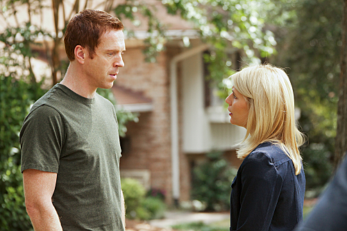 "Damien Lewis as Nicholas ""Nick"" Brody and Claire Danes as Carrie Mathison in Homeland"