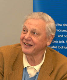 Wildscreen's photograph of David Attenborough at ARKive's launch in Bristol, England  May 2003