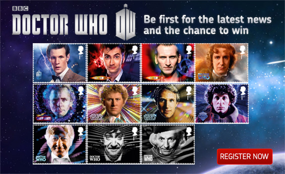 Doctor Who stamp collection, photo supplied by Royal Mail