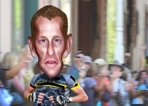 Lance Armstrong, a leader in the global warming crisis?  photo donkeyhotey  donkeyhotey.wordpress.com