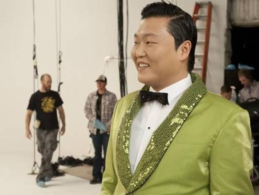 Psy filming Wonderful Pistachios Super Bowl ad