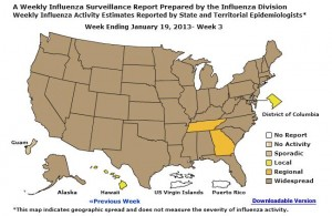 Flu Map-Week ending Jan. 19Image/CDC