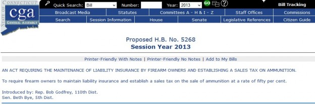 Connecticut anti-gun bill screenshot