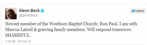 Glenn Beck ROn Paul WEstboro tweet