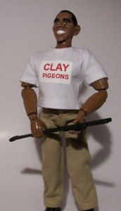 Skeet shooting Obama action figure