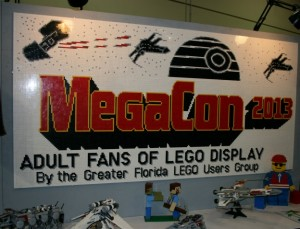 The large MegaCon banner made from LEGOs