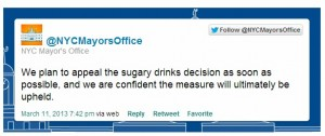 NY Mayor appeal soda ban tweet