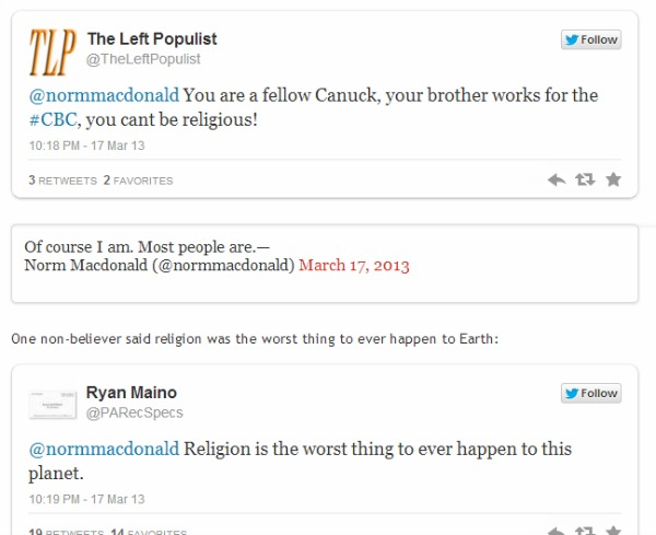 Norm MacDonald attack twitter religion worst thing happen earth