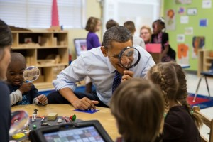 President Barack Obama visits a pre-kindergarten in Georgia. The Obama mandates led to the sex education program in Chicago which begins in kindergarten  (Official White House Photo by Pete Souza)