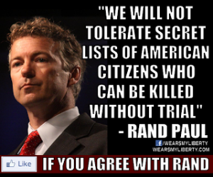 Rand Paul filibuster we will not tolerate Facebook photo
