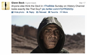 Satan image the Bible History Channel President Obama