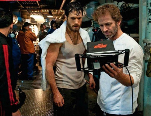Zack Snyder Henry Cavill Man of Steel set photo