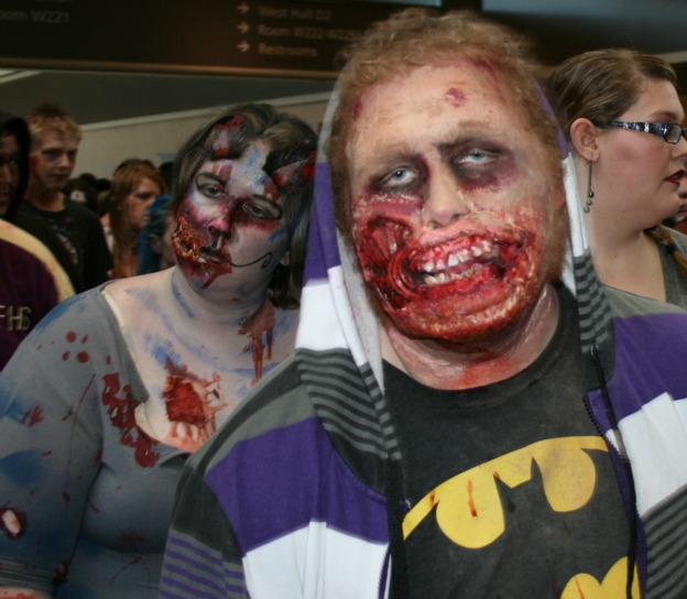 Zombie Batman Fan and girl Cosplay MegaCon 2013