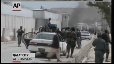 Violence in Afhganistan continues. Screenshot of video coverage of blast in Afghanistan killing 5 Americans earlier in 2013
