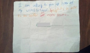 Kid crayon note give up Constitutional rights
