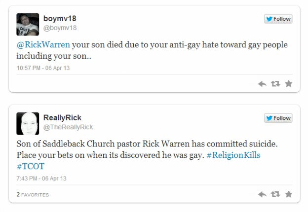 Rick Warren hate tweets Matthew Warren suicide