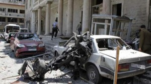 Syrian car bomb rubble, photo from video coverage of explosion