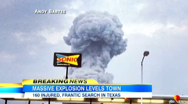 Texas fertilizer plant explosion resulted in a mushroom cloud of smoke photo screenshot of ABC News coverage