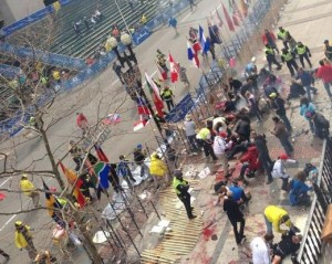 The bloody aftermath of the Boston Marathon bombing is what the US deserves according to one UN official. photo Twitter/@theoriginalwak