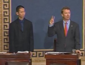 Senator Rand Paul uses American sign language in the beginning of his speech on orphan diseases Image/Video Screen Shot